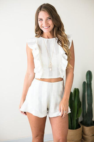 Perfect Timing Ivory Ruffle Set - Top