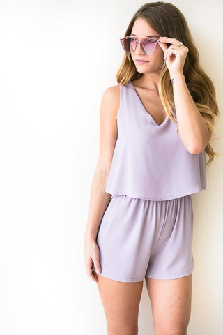 Best of Me V Neck Romper - Lilac