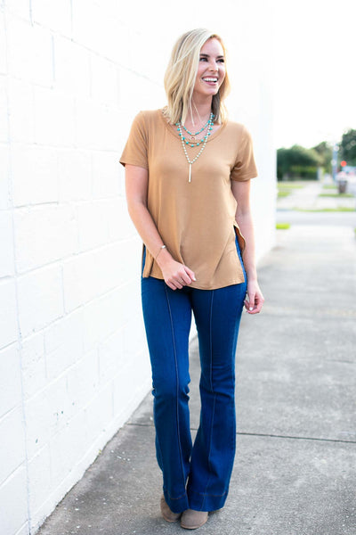 Tops Make Things Easy Side Slit Scoop Latte Top - Lotus Boutique