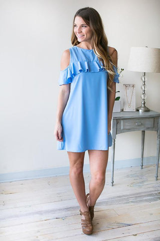 Finally Home Cold Shoulder Dress - Blue