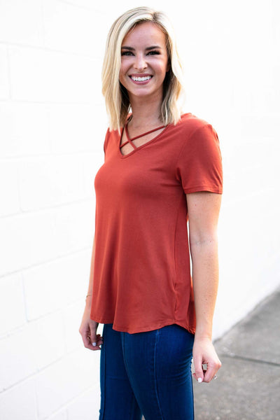 Tops Ready Now Criss Cross Top in Rust - Lotus Boutique
