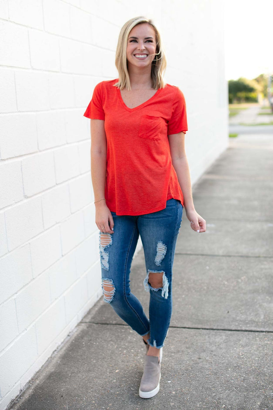 Tops Better Now Lightweight Pocket Tee in Poppy Orange - Lotus Boutique