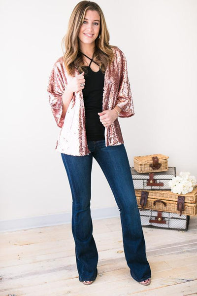 Jacket Charmed Evening Rose Sequin Jacket - Lotus Boutique