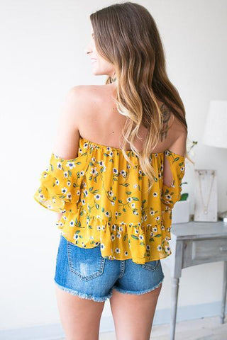 Mrs Daisy Off the Shoulder Floral Top
