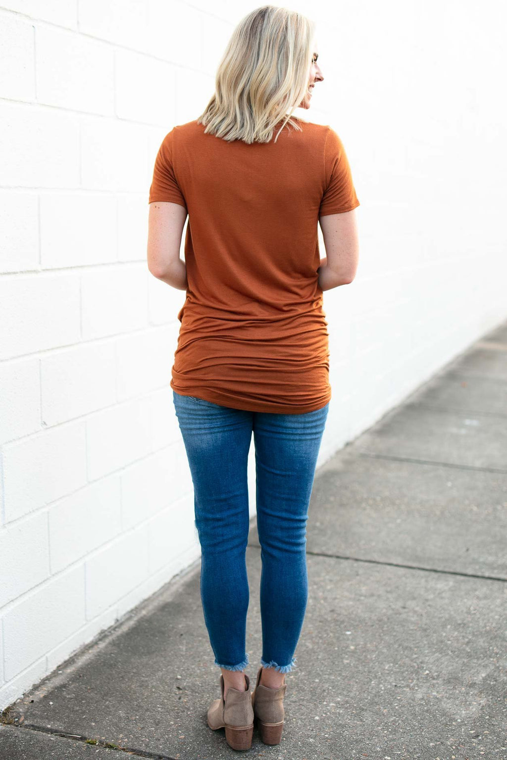 Hearts Beating Rust Tie Up Tunic Tee