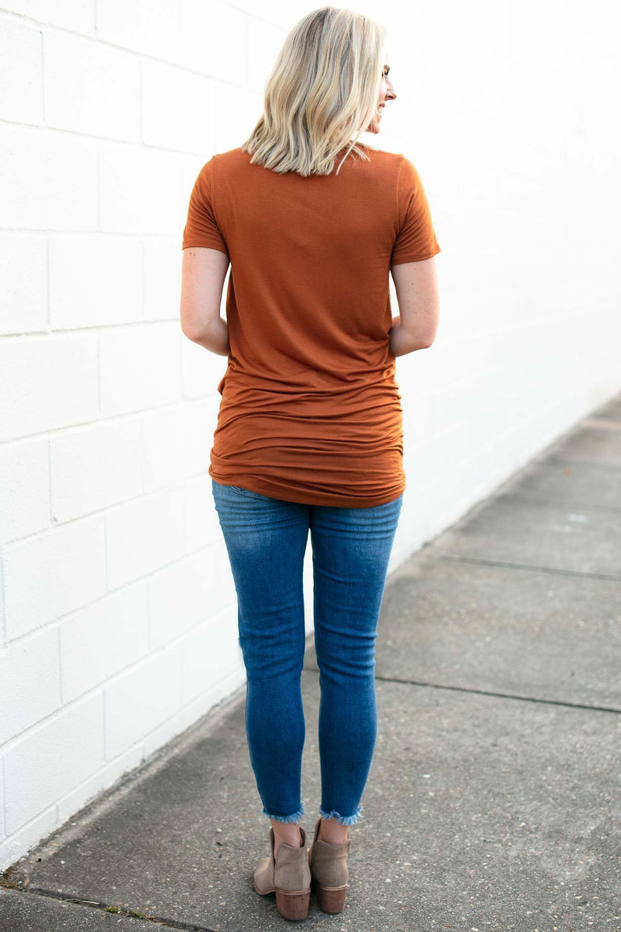 Tops Hearts Beating Rust Tie Up Tunic Tee - Lotus Boutique