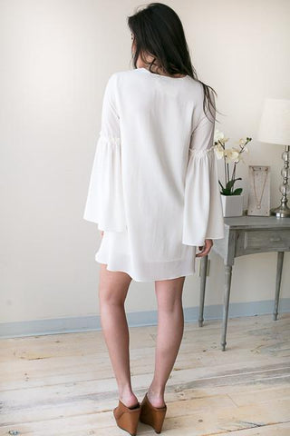 Time is Flying By White Bell Sleeve Dress