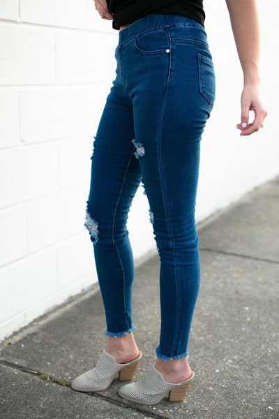 Bottoms You Should See Me in a Crown Distressed Jeggings - Lotus Boutique