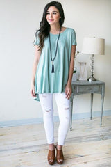 Alta Melody Short Sleeve Tunic Top - Green