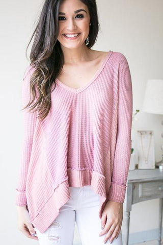 Textured Heart Waffle Knit Top