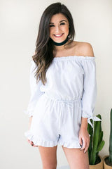 Ice Melts Stripe Romper - White