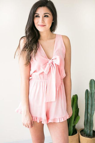 Tied Up Ruffle Trim Light Pink Romper