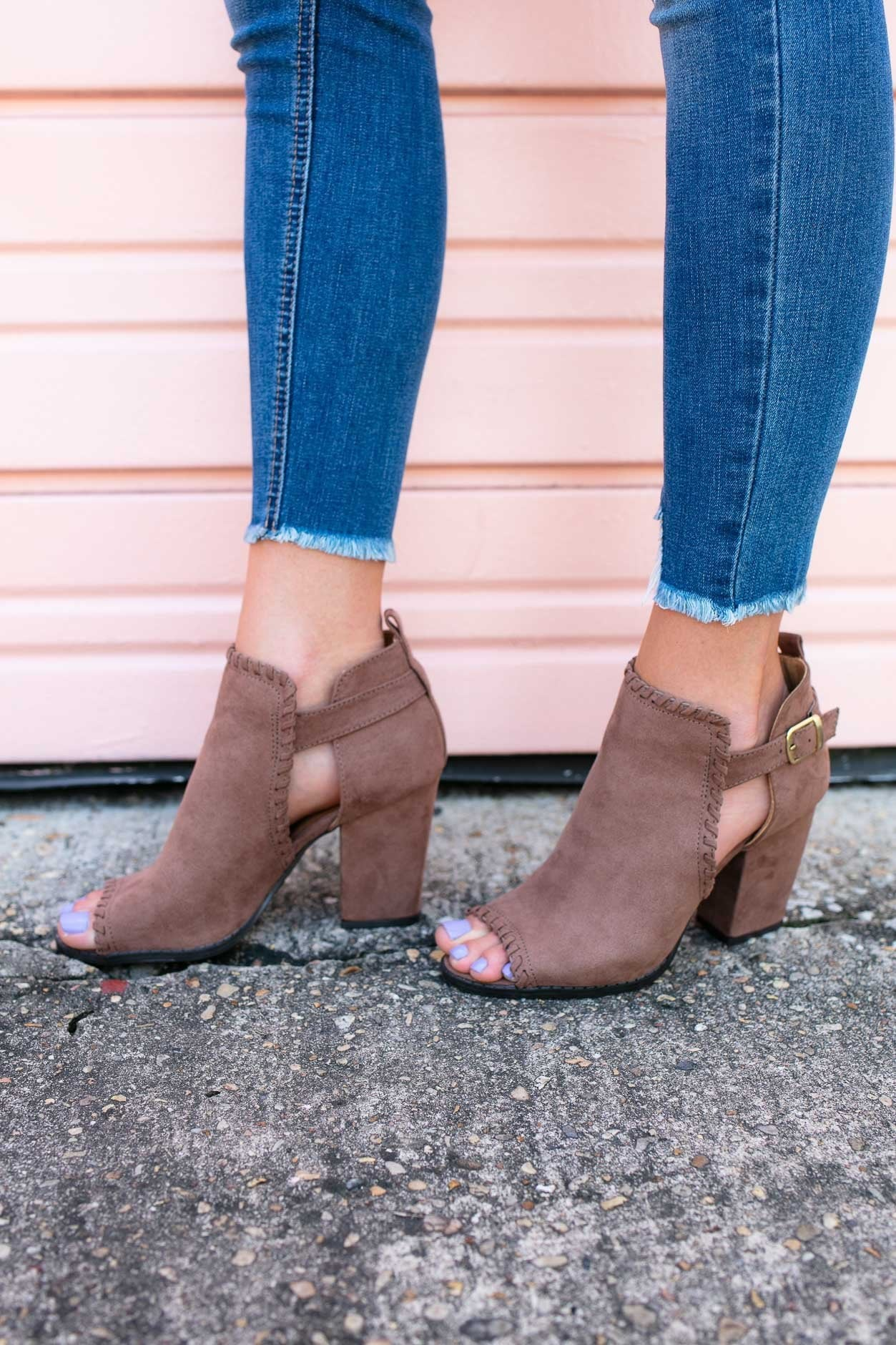 I Love You A Latte Suede Ruffle Booties - Nutmeg