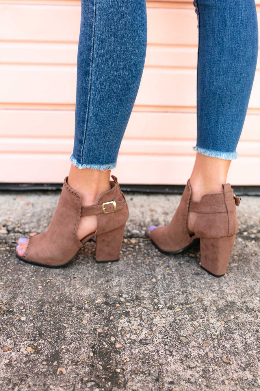 Shoes I Love You A Latte Suede Ruffle Booties - Nutmeg - Lotus Boutique