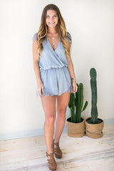 A Taste of Lace Dusty Blue Romper