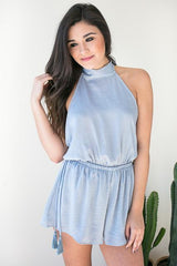 Need A Lot Open Back Romper - Blue