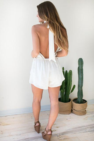 Need A Lot Open Back Romper - Ivory