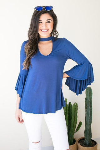 Up Stream Cut Out Bell Sleeve Top - Navy