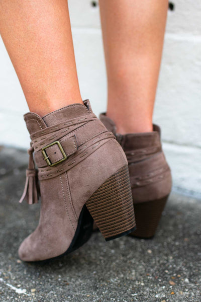 Shoes I Will Work Boho Tassel Booties - Lotus Boutique