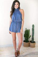 Need A Lot Open Back Romper - Navy