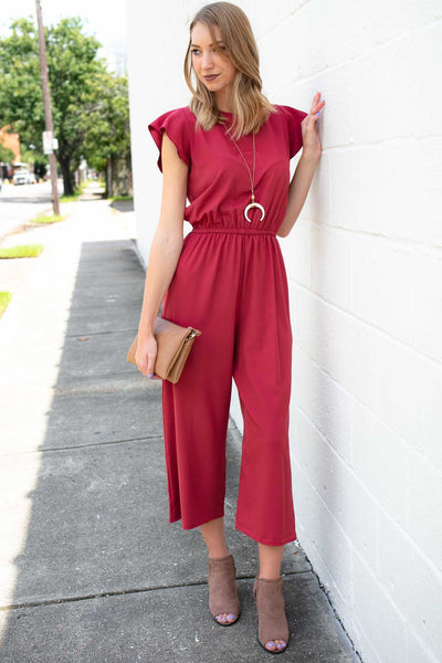 Jumpsuits Plan On It Ruffle Sleeve Marsala Jumpsuit - Lotus Boutique