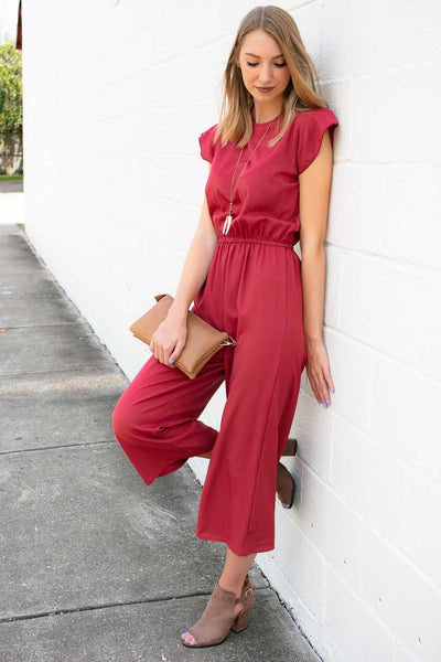 Ruffle Sleeve Cropped Jumpsuit