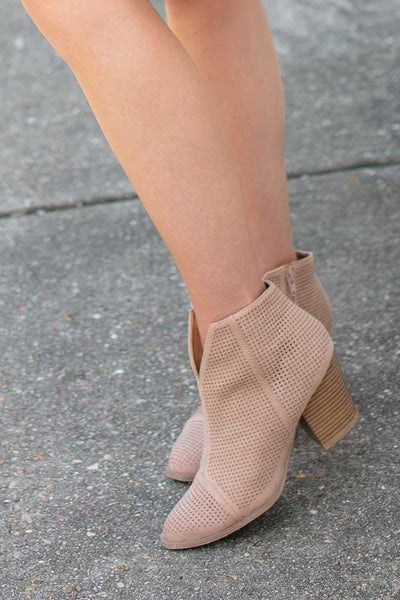 Shoes Redefine You Suede Taupe Booties - Lotus Boutique