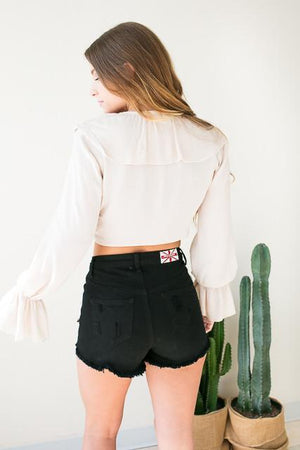 Summer's Day Black High Waist Shorts -Bottoms-Lotus Boutique-Lotus Boutique
