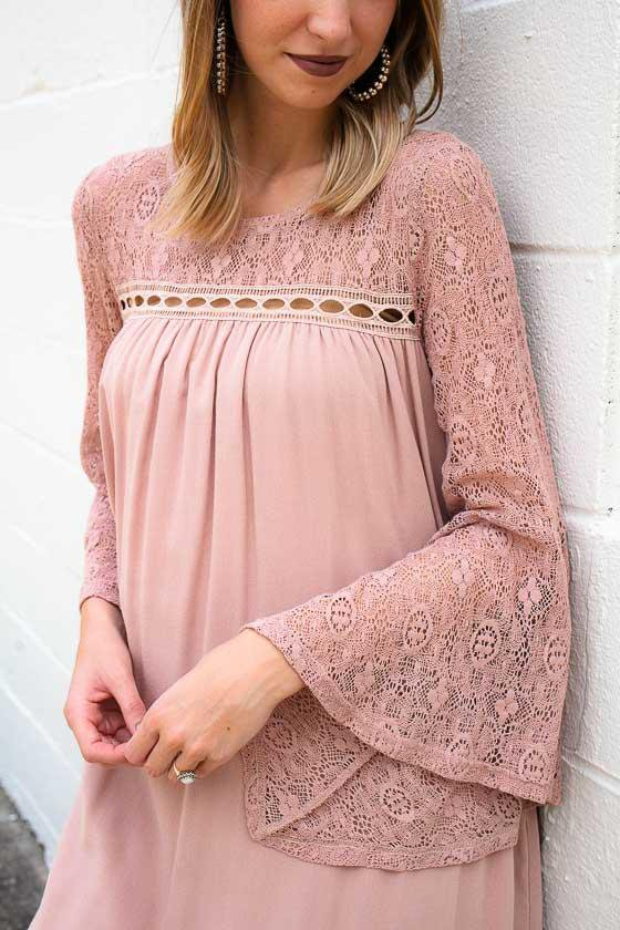Lace Bell Sleeve Blush Dress