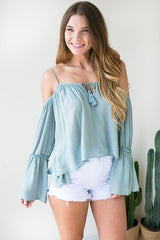 Minty Fresh Off Shoulder Top