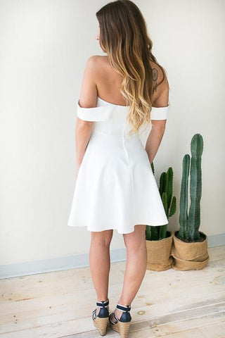 Plan It Off Shoulder White Dress