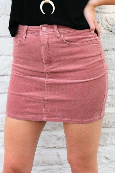 Bottoms Today Is Your Day Rose Corduroy Mini Skirt - Lotus Boutique
