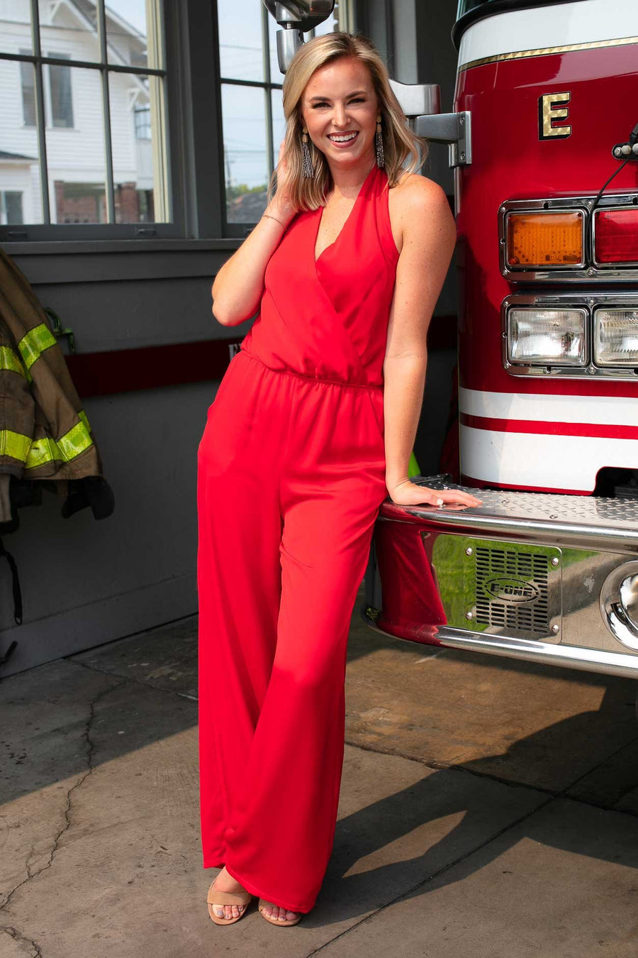 Never Alone Halter Neck Jumpsuit in Red