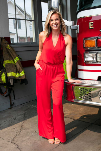 Jumpsuits Never Alone Halter Neck Jumpsuit in Red - Lotus Boutique