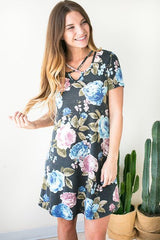 Stay True Cross Front Floral Dress