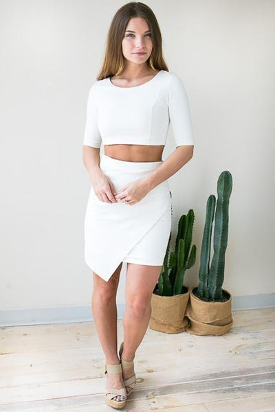 Tops Boss Babe White Crop Top Set  - Lotus Boutique