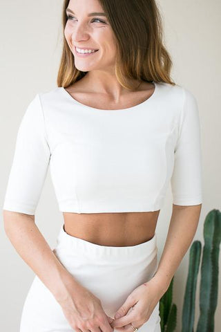 Boss Babe White Crop Top Set