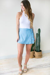 Everywhere You Go Wrap Denim Skort