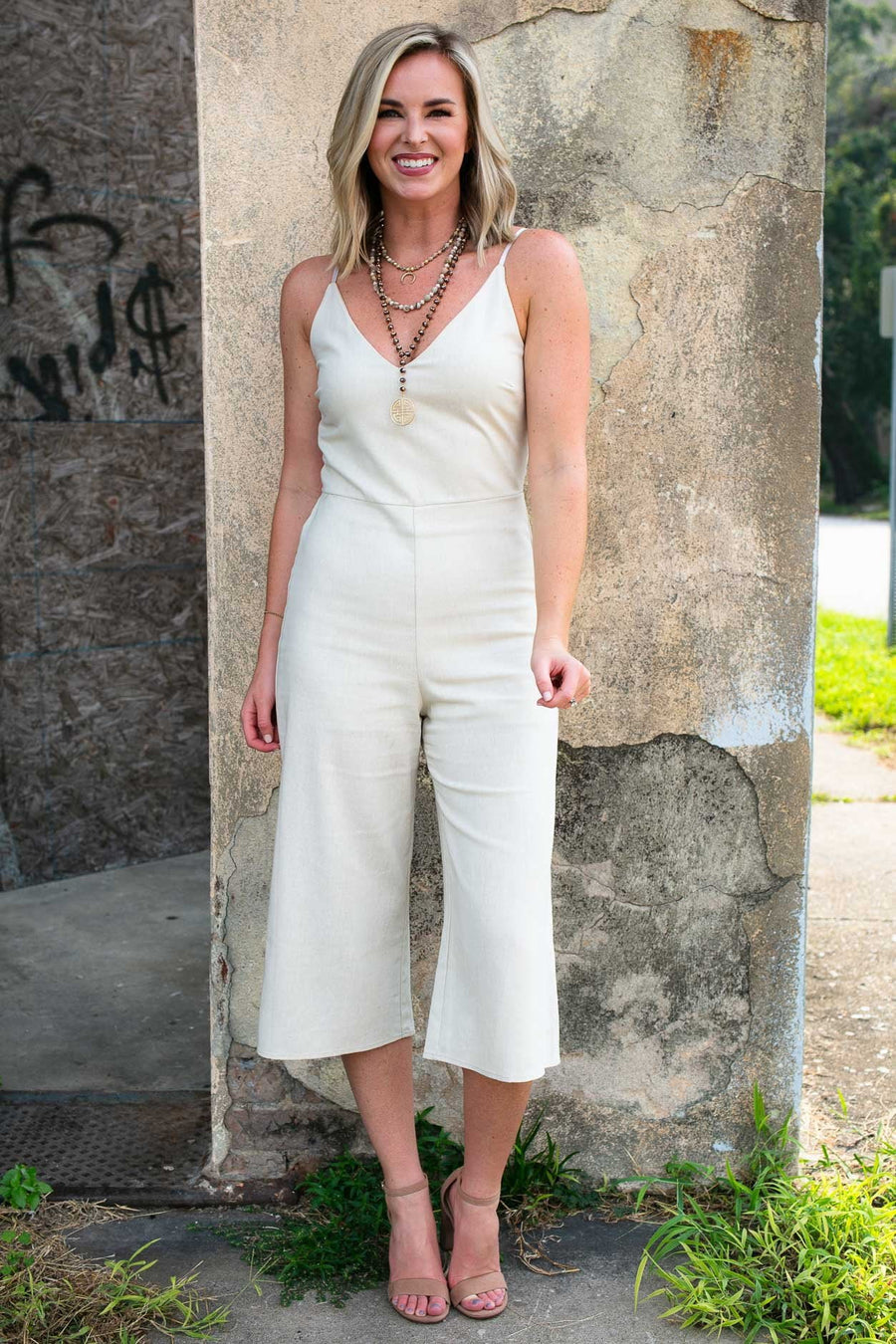 Jumpsuits What's The Story Linen Jumpsuit in Taupe - Lotus Boutique
