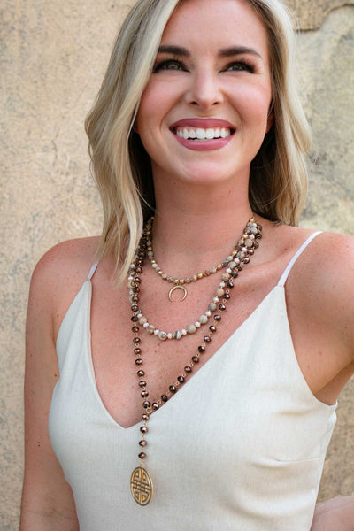 Accessories Layers Of You Beaded Horn Necklace - Neutral - Lotus Boutique