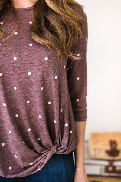 On The Dotted Line Polka Dot Top- Burgundy-Tops-Lotus Boutique-Lotus Boutique