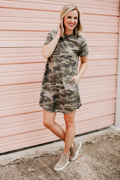 Dresses Off The Grid Camo T-shirt Dress - Lotus Boutique