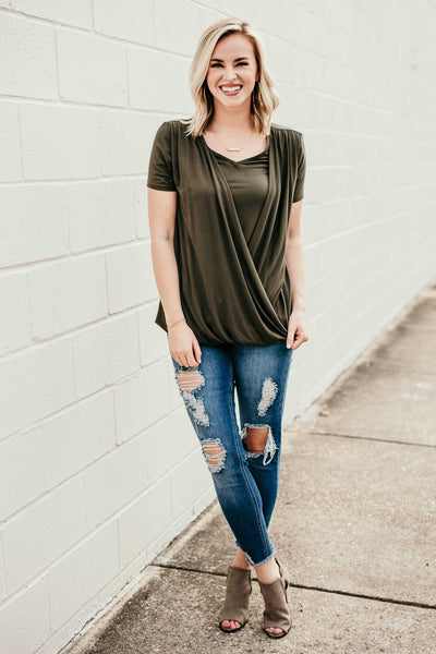 Olive Layered Surplice Top