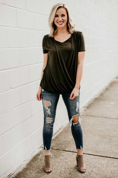 Olive Surplice Layered Top