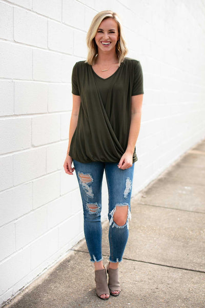 Surplice Olive Layered Top