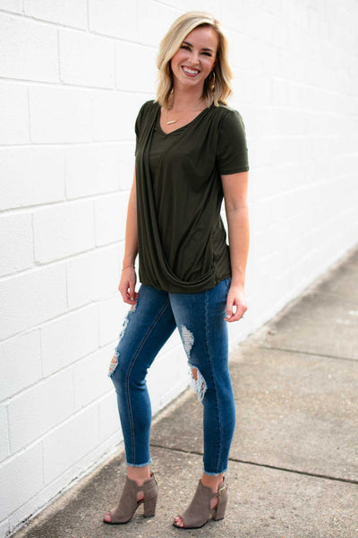 Surplice Layered Olive Top
