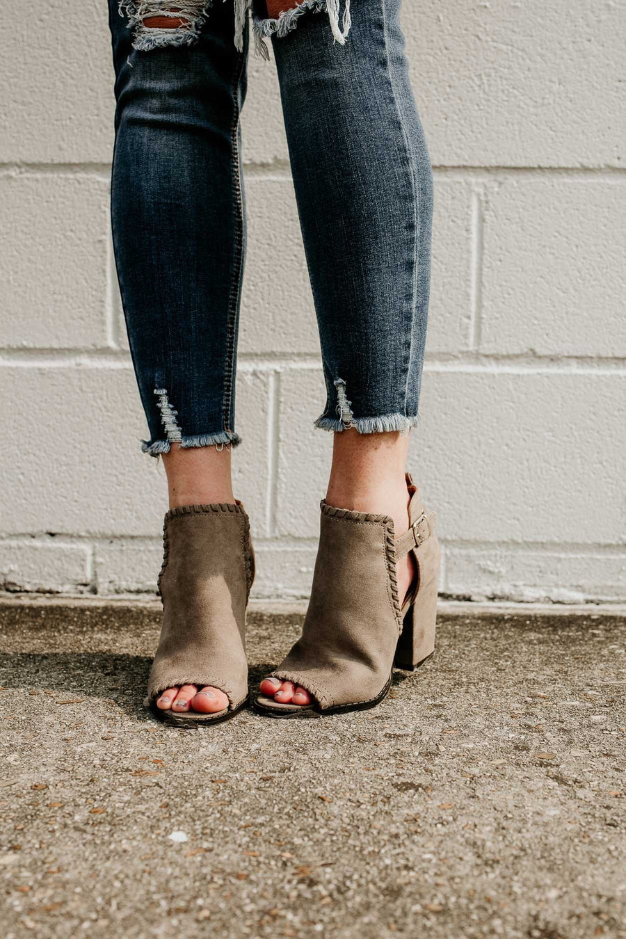 Shoes I Love You A Latte Suede Stitched Booties in Grey - Lotus Boutique