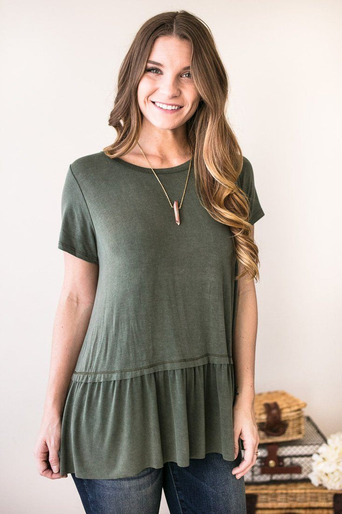 Easy to Love Babydoll Top - Sage