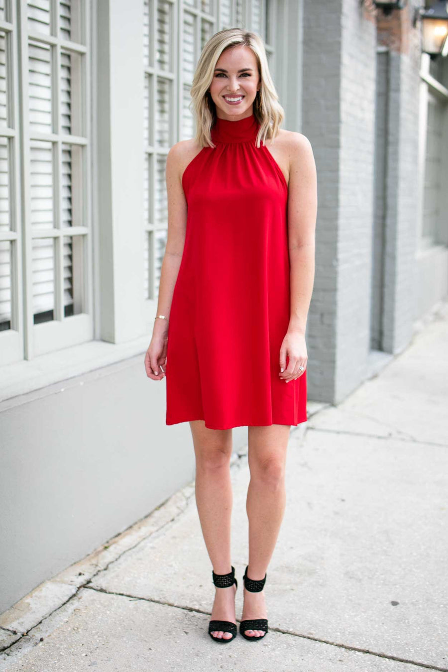 Dresses Watching Over Us High Neck Dress in Red - Lotus Boutique