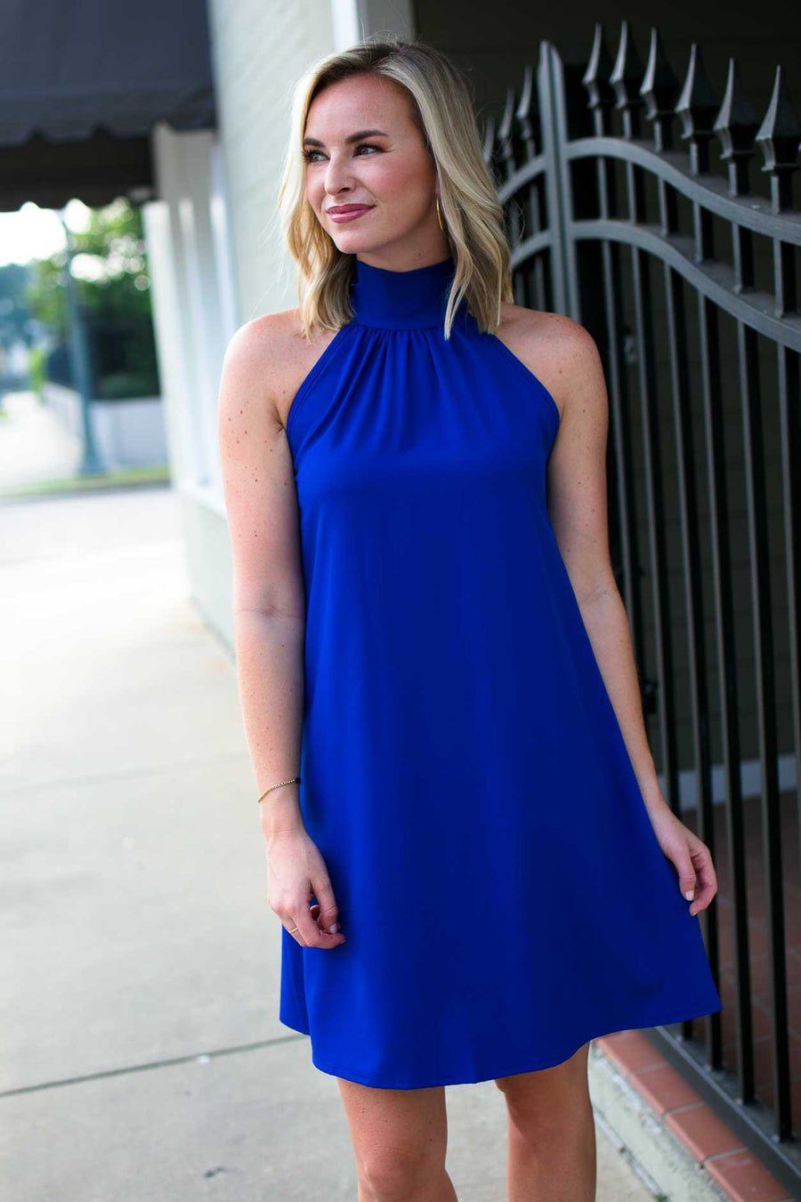 Dresses Watching Over Us High Neck Dress in Royal - Lotus Boutique